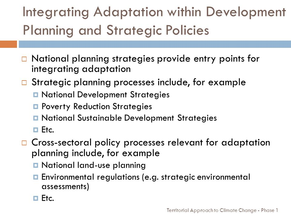 Integrating Adaptation within Development Planning and Strategic Policies