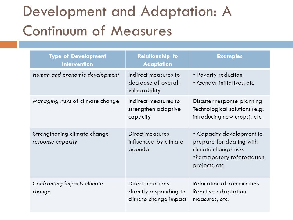 Development and Adaptation: A Continuum of Measures