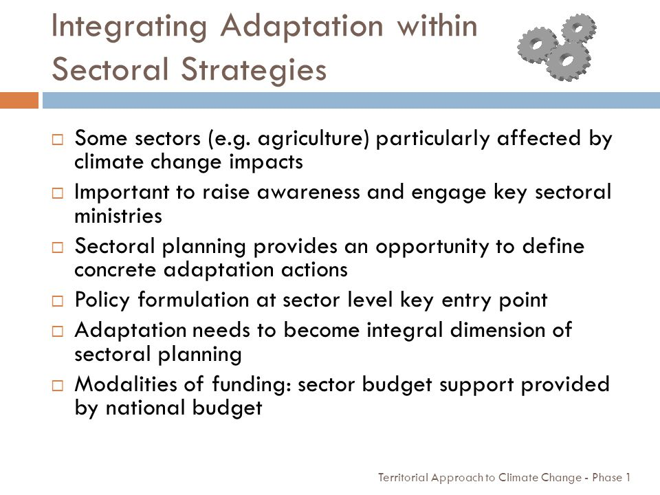 Integrating Adaptation within Sectoral Strategies