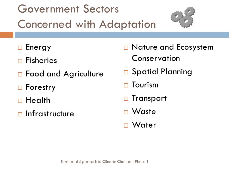 Government Sectors Concerned with Adaptation