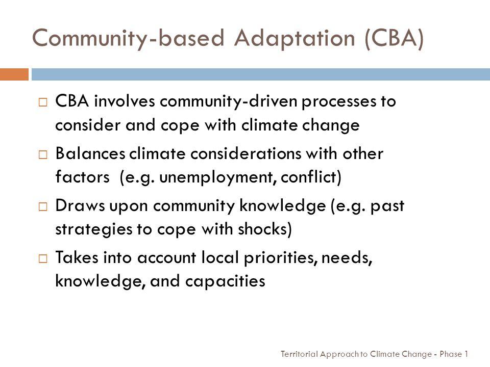 Community-based Adaptation (CBA)