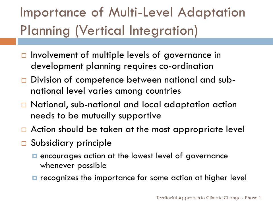 Importance of Multi-Level Adaptation Planning (Vertical Integration)