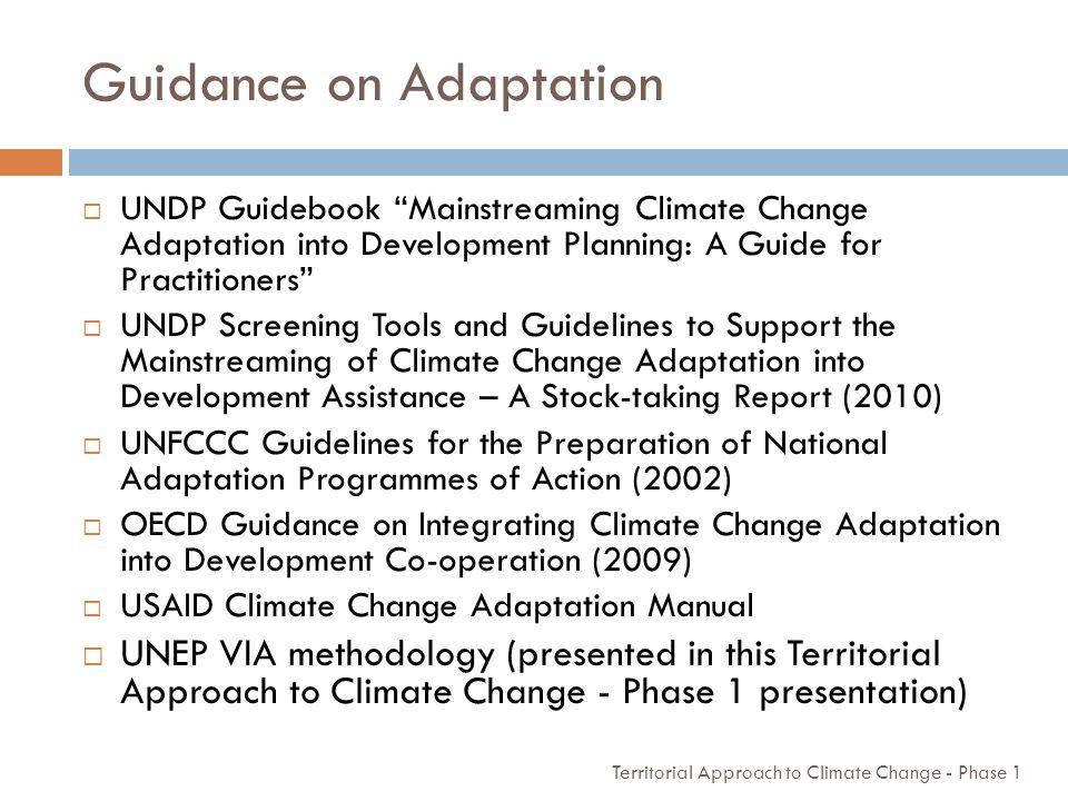 Guidance on Adaptation