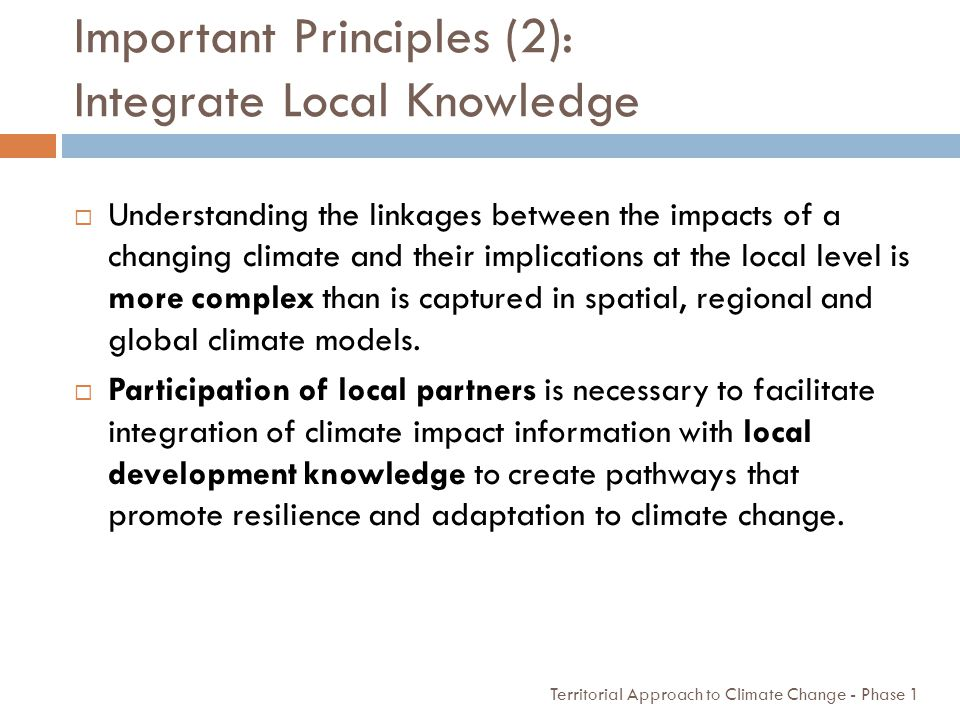 Important Principles (2): Integrate Local Knowledge