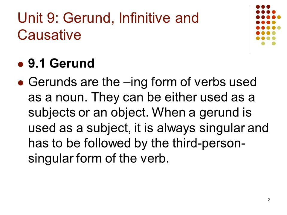 Unit 9: Gerund, Infinitive and Causative