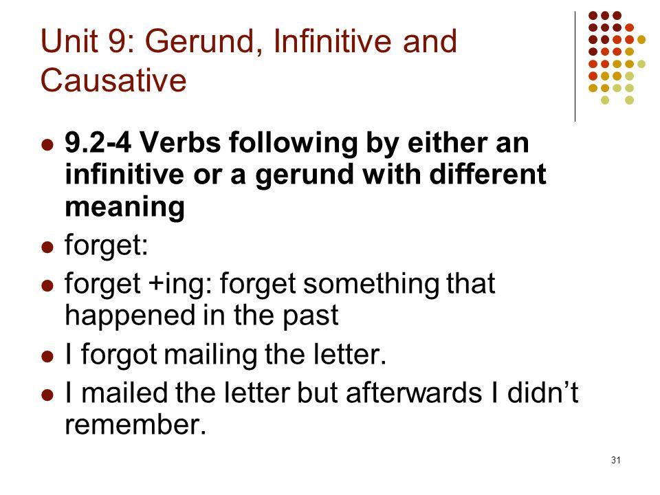 Unit 9: Gerund, Infinitive and Causative
