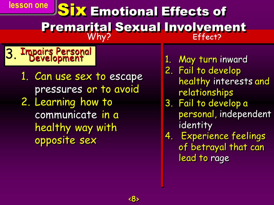 Six Emotional Effects of Premarital Sexual Involvement
