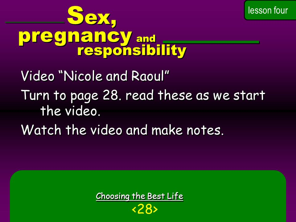 Sex, pregnancy and responsibility