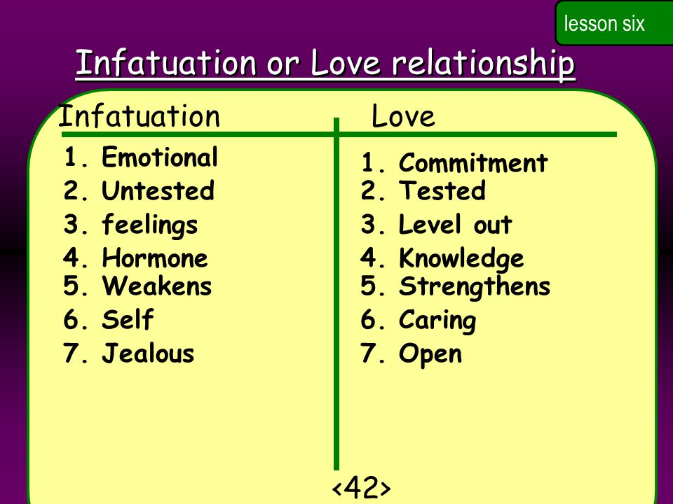 Infatuation or Love relationship