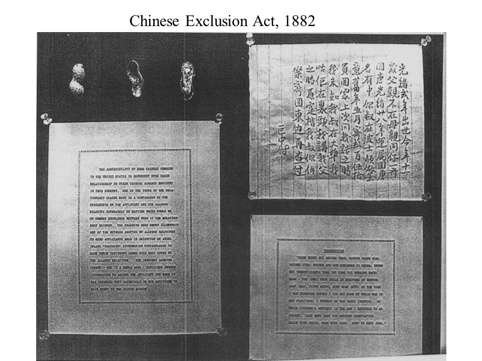 Chinese Exclusion Act, 1882