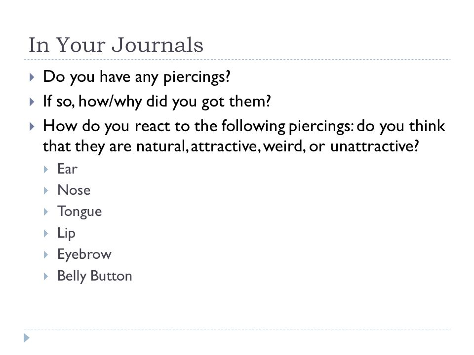 In Your Journals Do you have any piercings