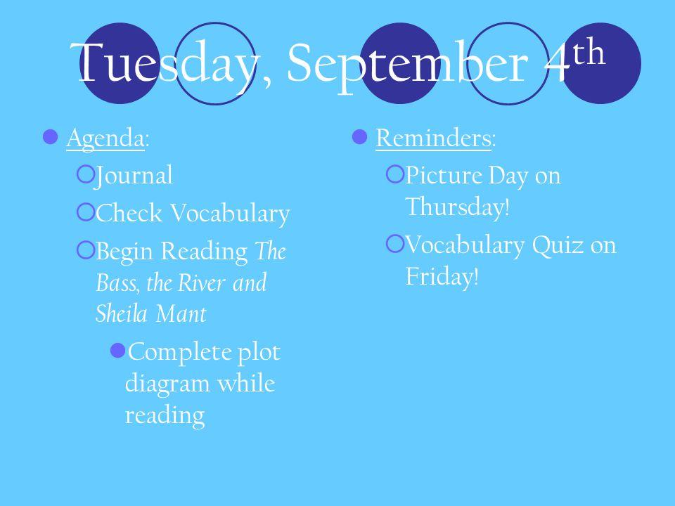 Tuesday, September 4th Agenda: Journal Check Vocabulary