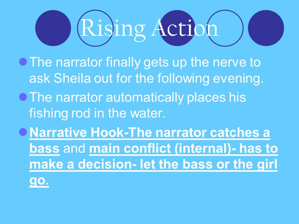 Rising Action The narrator finally gets up the nerve to ask Sheila out for the following evening.