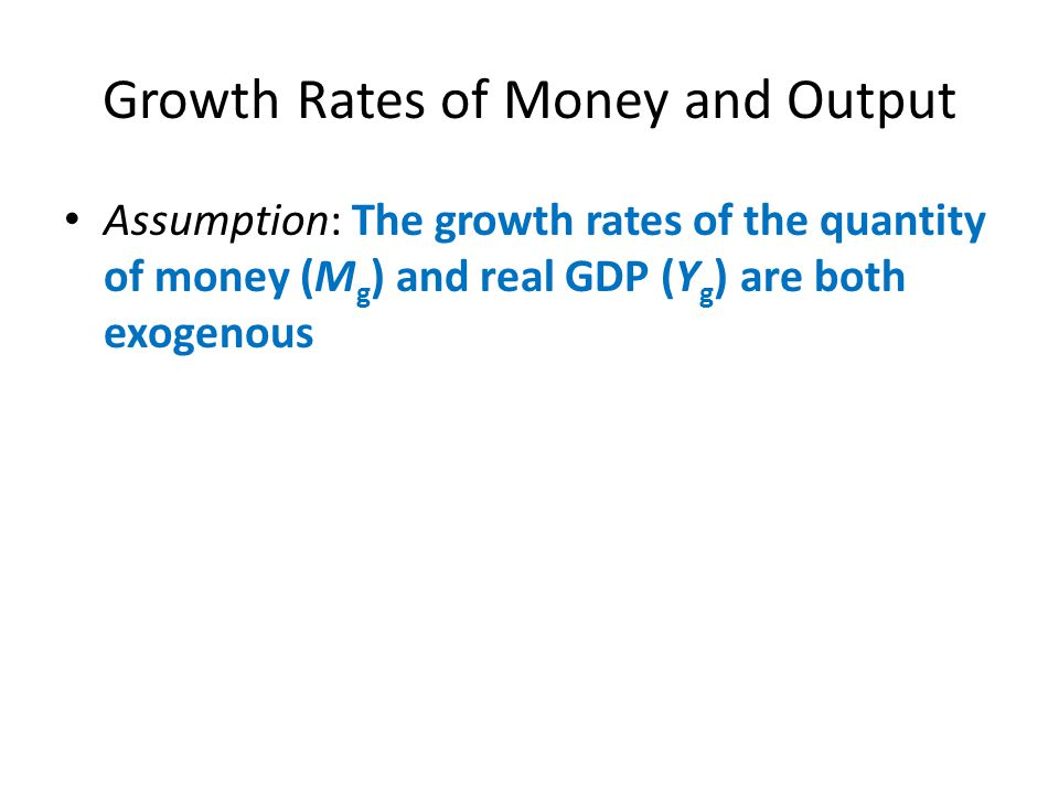 Growth Rates of Money and Output
