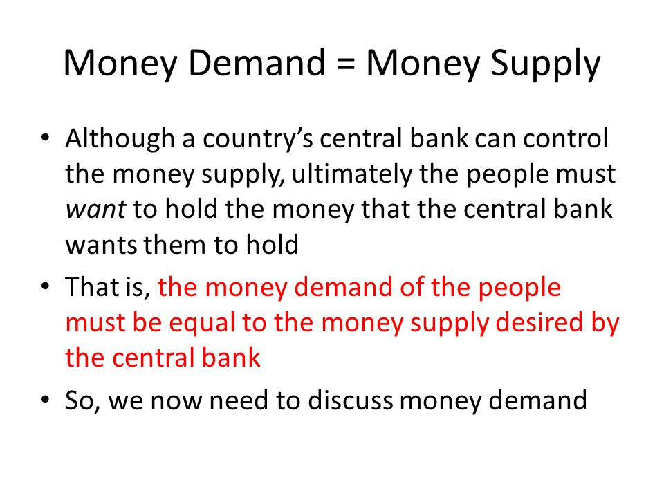 Money Demand = Money Supply