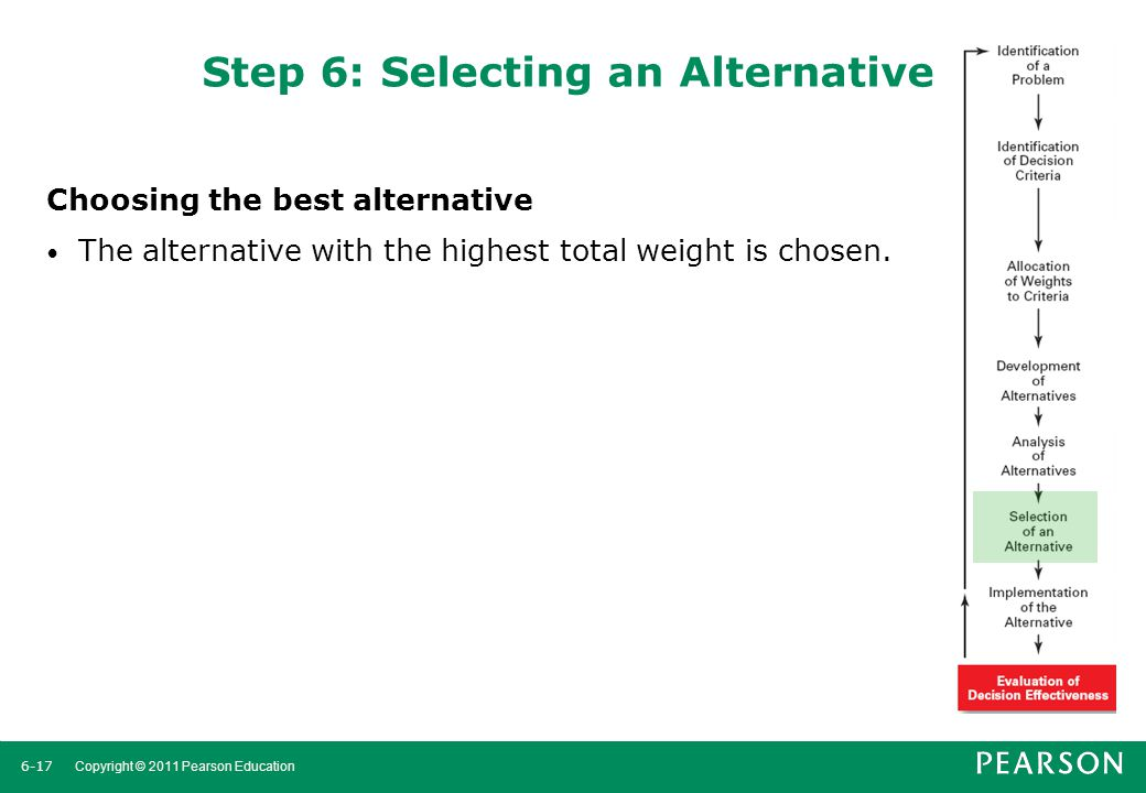 Step 6: Selecting an Alternative