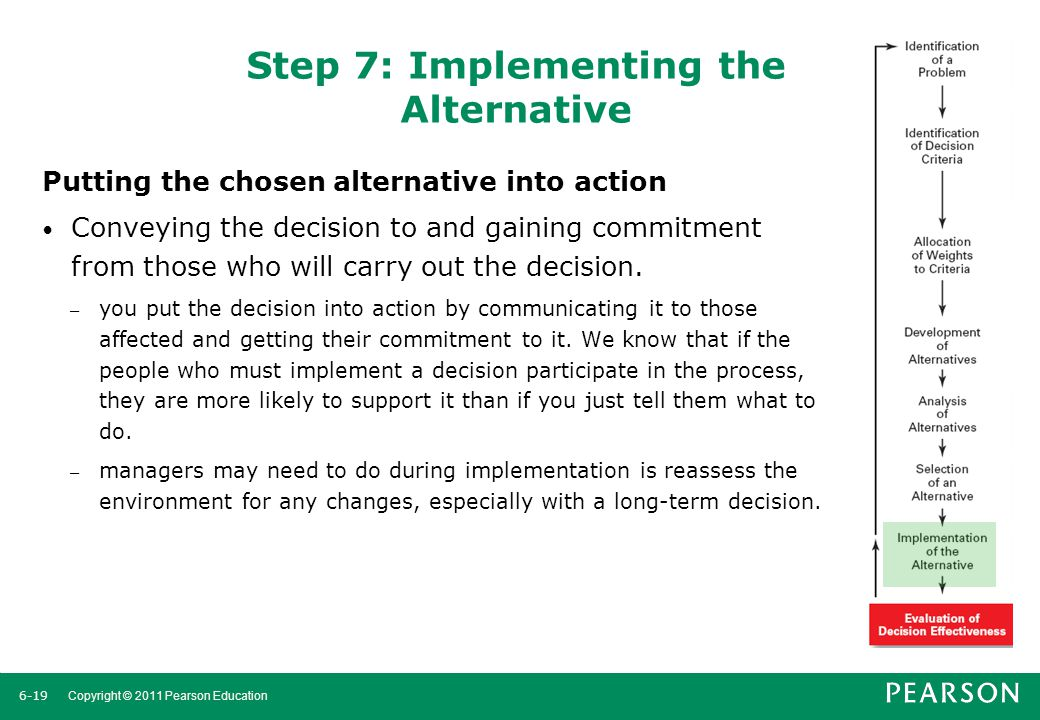 Step 7: Implementing the Alternative
