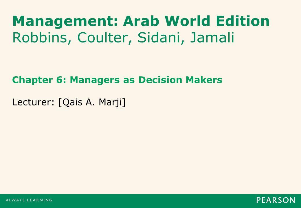 Management: Arab World Edition Robbins, Coulter, Sidani, Jamali