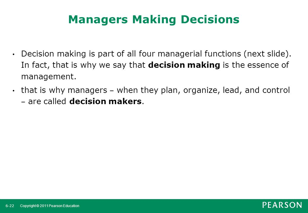 Managers Making Decisions