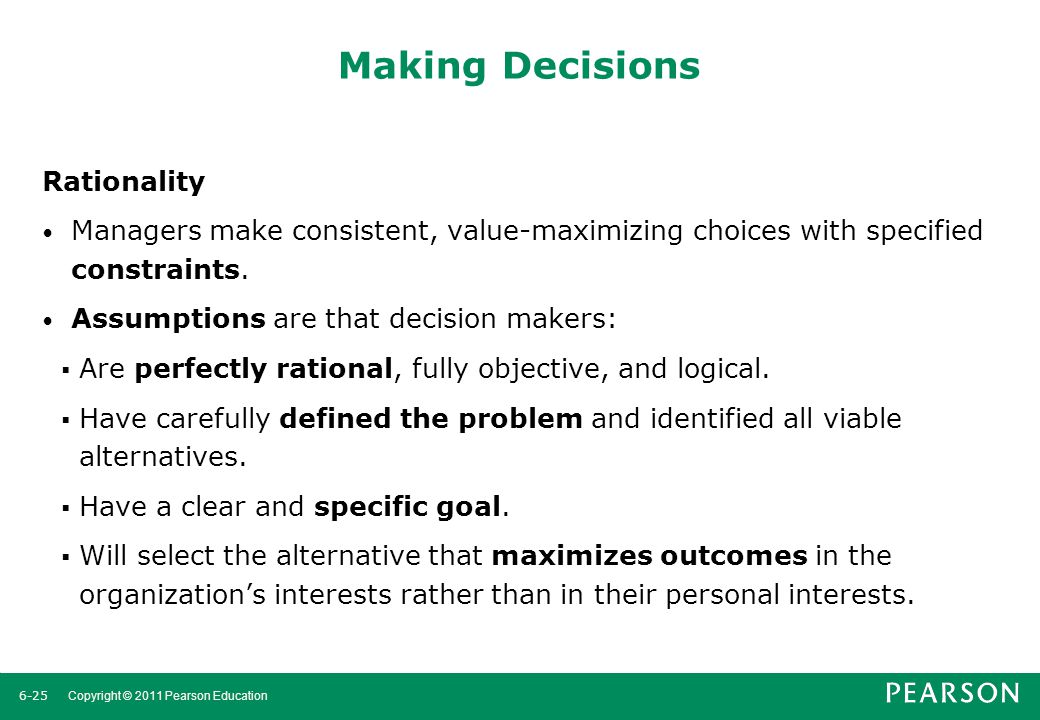 Making Decisions Rationality