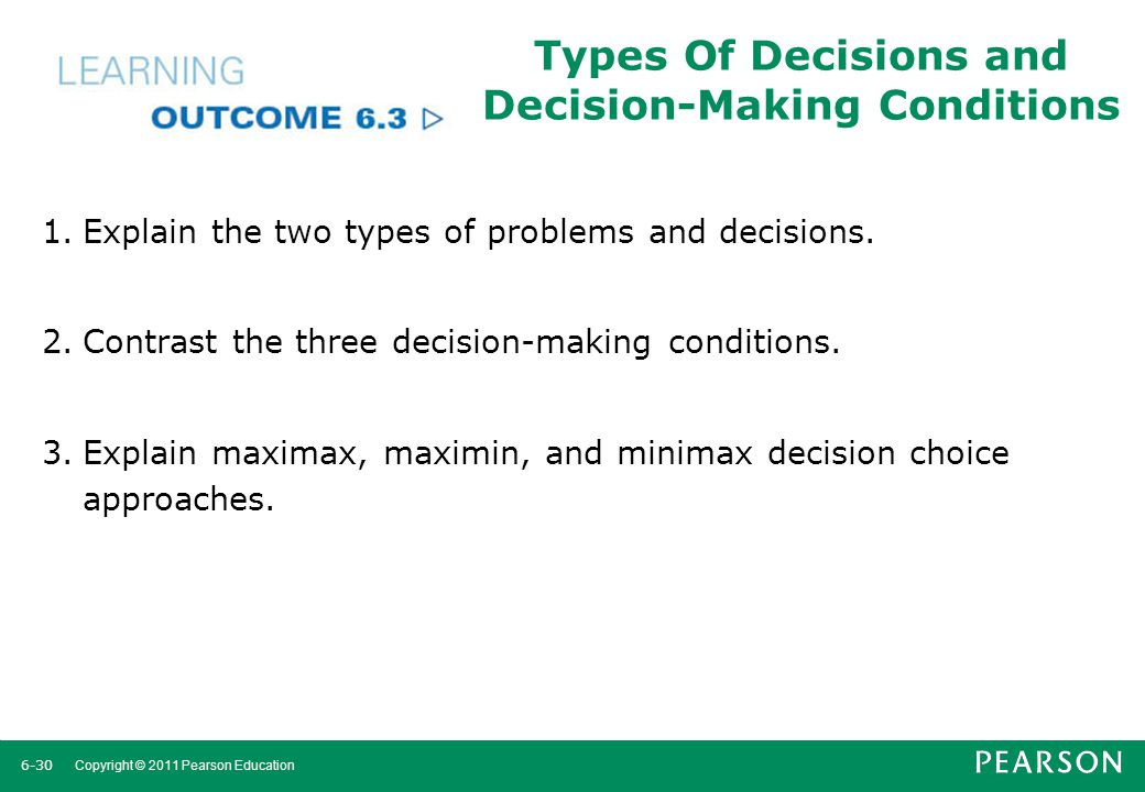 Types Of Decisions and Decision-Making Conditions