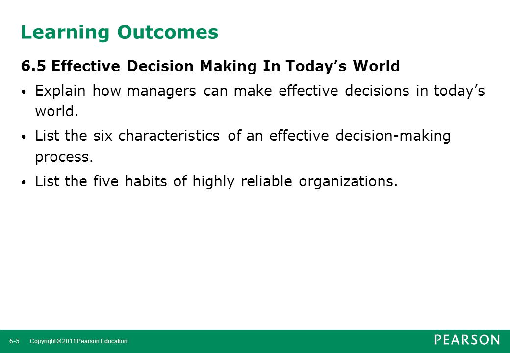 Learning Outcomes 6.5 Effective Decision Making In Today's World