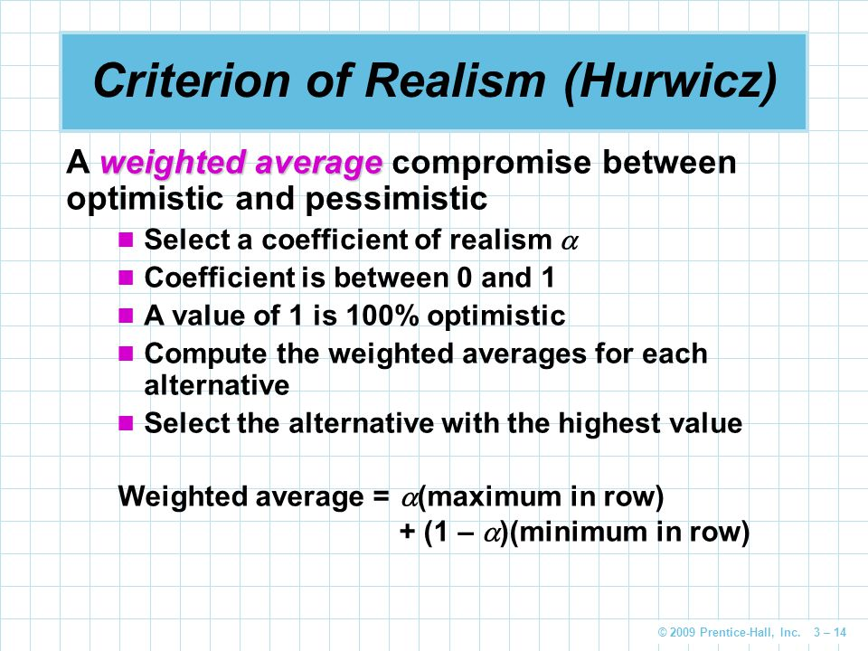 Criterion of Realism (Hurwicz)