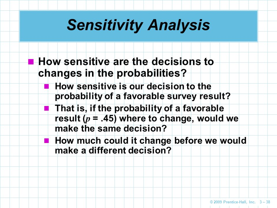 Sensitivity Analysis How sensitive are the decisions to changes in the probabilities