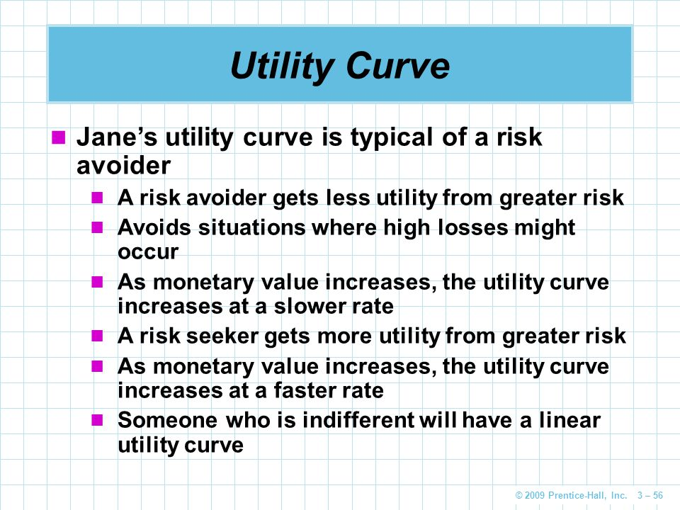 Utility Curve Jane's utility curve is typical of a risk avoider