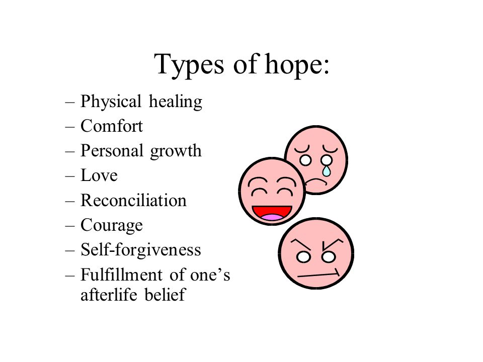 Types of hope: Physical healing Comfort Personal growth Love