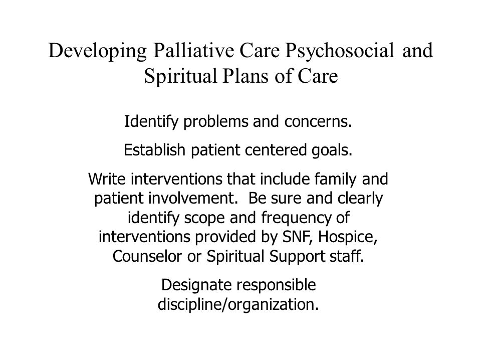Developing Palliative Care Psychosocial and Spiritual Plans of Care