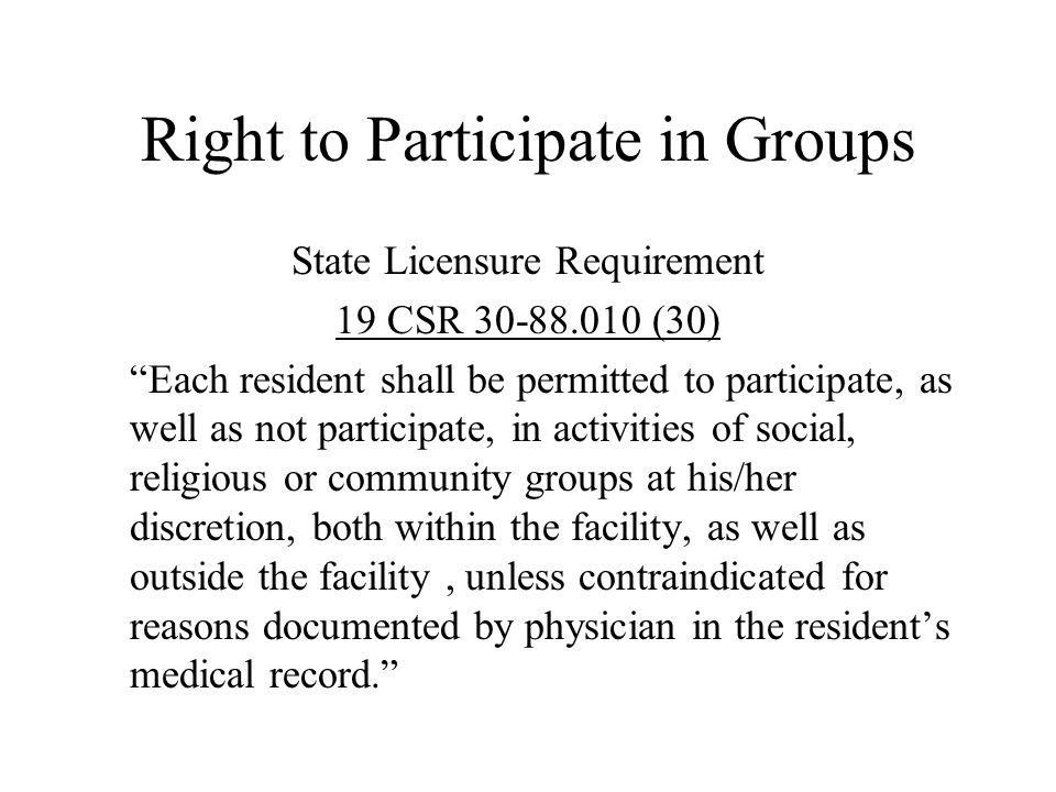 Right to Participate in Groups