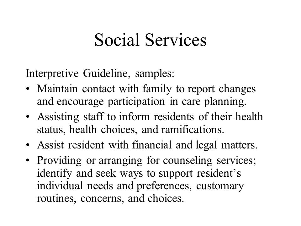 Social Services Interpretive Guideline, samples: