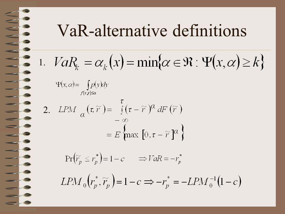 VaR-alternative definitions
