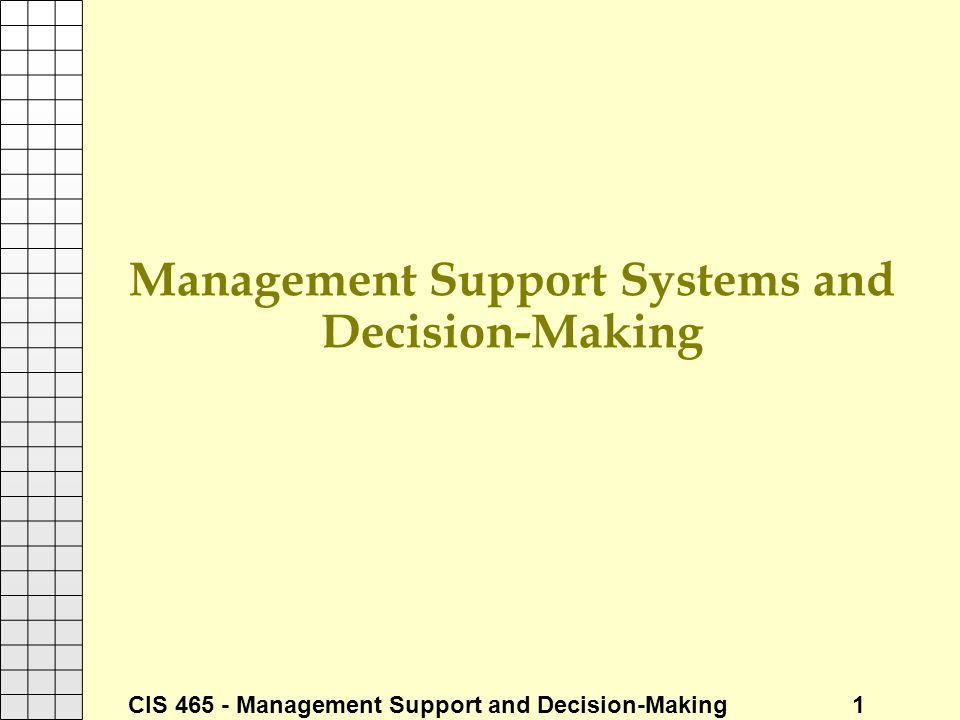 Management Support Systems and Decision-Making