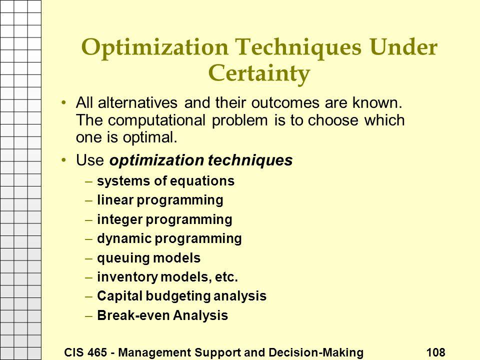 Optimization Techniques Under Certainty