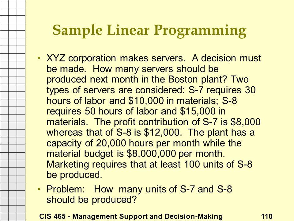 Sample Linear Programming