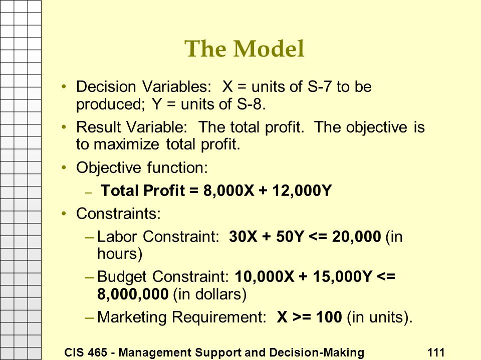 The Model Decision Variables: X = units of S-7 to be produced; Y = units of S-8.