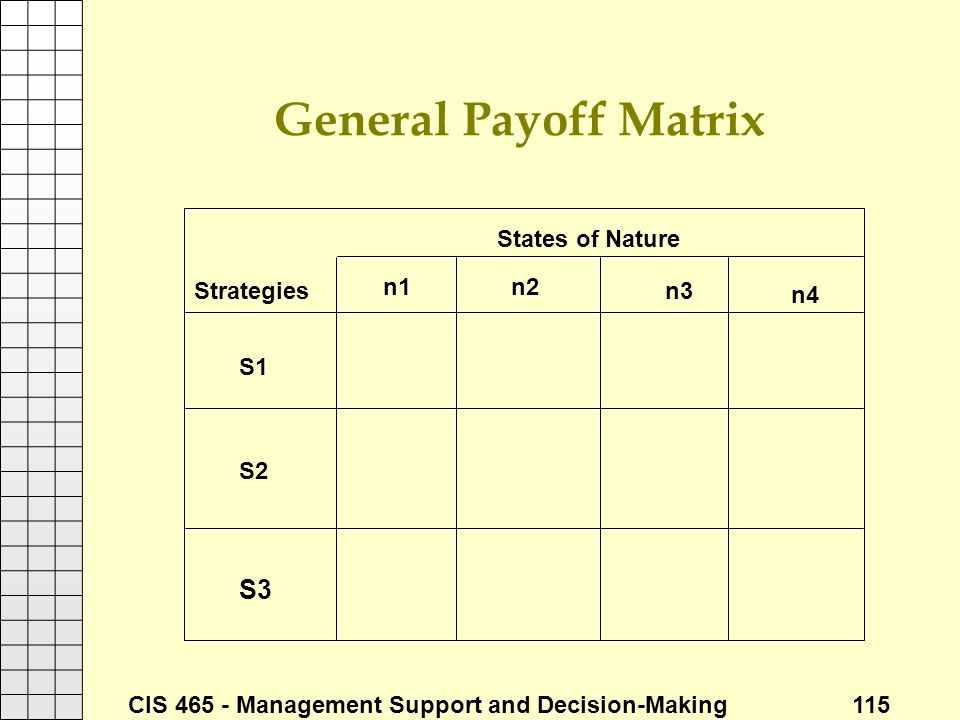 General Payoff Matrix States of Nature Strategies n1 n2 n3 n4 S1 S2 S3