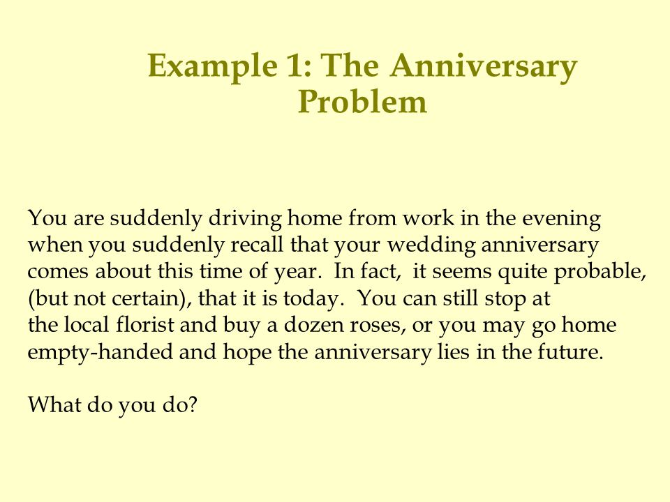 Example 1: The Anniversary Problem