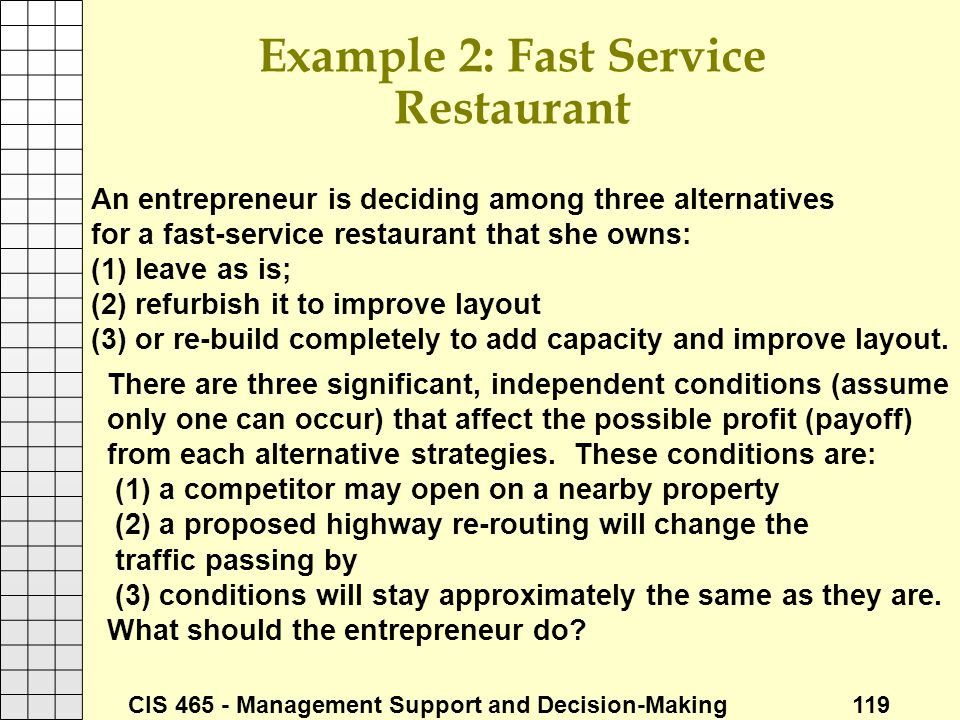 Example 2: Fast Service Restaurant