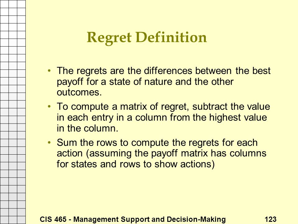 Regret Definition The regrets are the differences between the best payoff for a state of nature and the other outcomes.