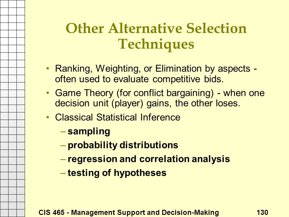 Other Alternative Selection Techniques