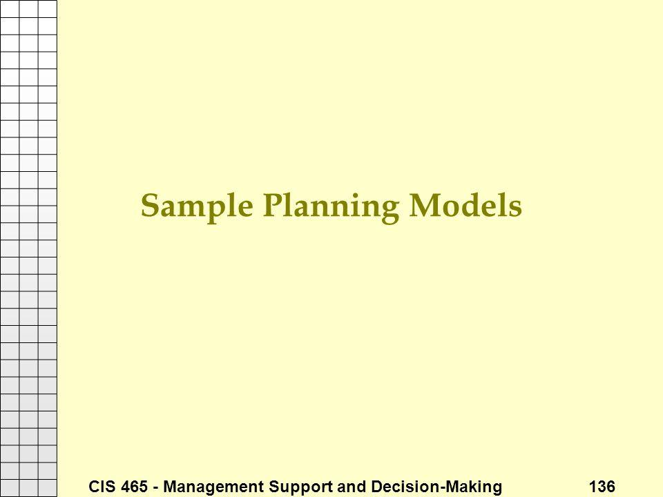 Sample Planning Models