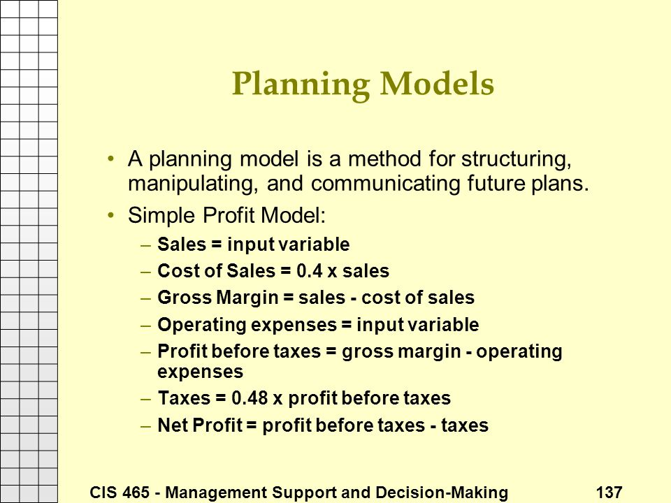 Planning Models A planning model is a method for structuring, manipulating, and communicating future plans.