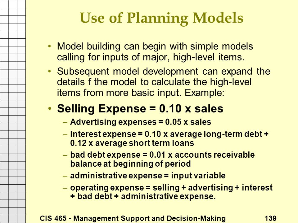 Use of Planning Models Selling Expense = 0.10 x sales