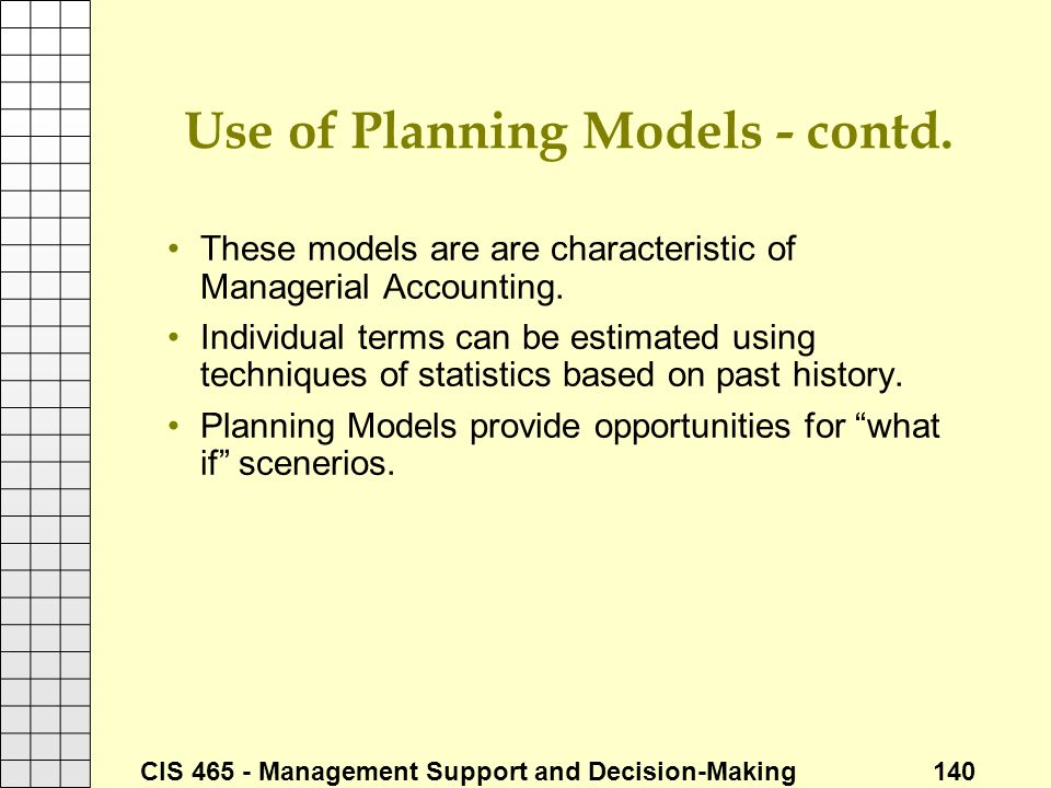 Use of Planning Models - contd.