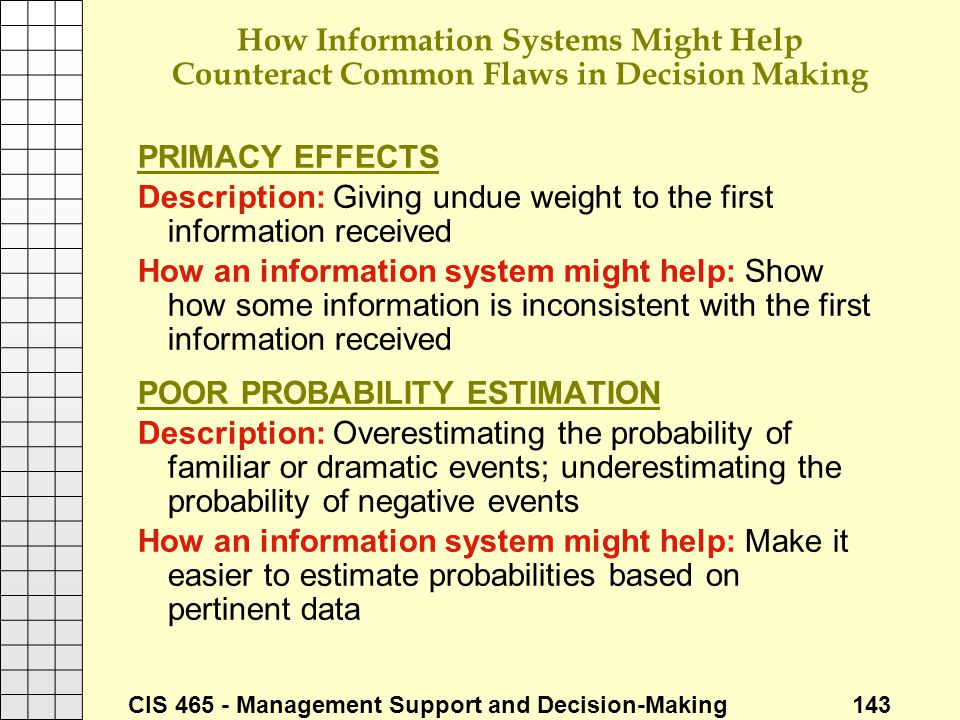 How Information Systems Might Help Counteract Common Flaws in Decision Making