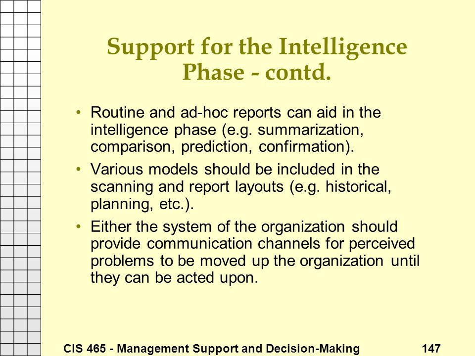 Support for the Intelligence Phase - contd.