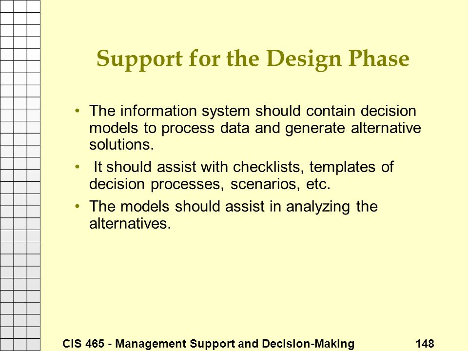 Support for the Design Phase